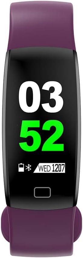 Pulsera impermeable Bluetooth 4.0fitness Tracker podómetro Monitor de ritmo cardiaco del sueño mallalah deporte reloj Smart Watch, color morado