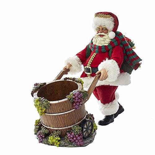 Santa Wine Bottle Holder - Kurt Adler 10-Inch Fabriché Santa with Barrel Wine Bottle Holder