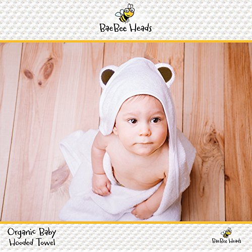 Organic Bamboo Baby Hooded Towel, Baby Bath Towels, Bamboo Baby Towel - Ultra Soft Bamboo Baby Hooded Towel by Harlem and Zoe - Bear Ears On Hood, Super Absorbent, Hypoallergenic, Durable