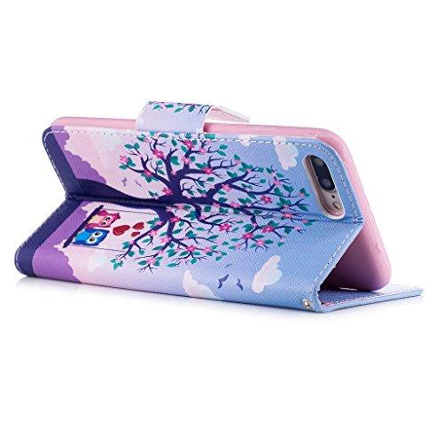 iPhone 7 Plus Coque,Amoureux de Chouette Portefeuille Fermoir Magnétique Supporter Flip Téléphone Protection Housse Case Étui Pour Apple iPhone 7 Plus 5.5 Pouce