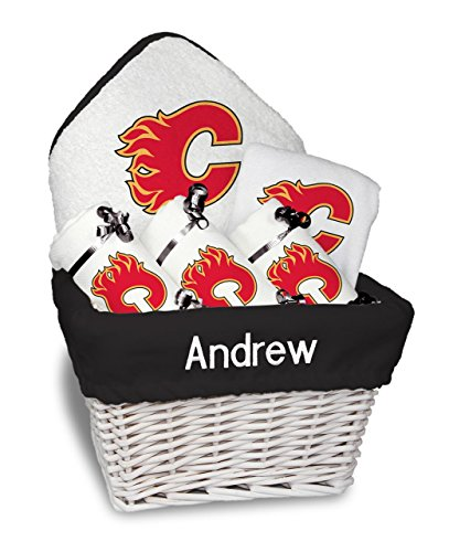 Designs by Chad and Jake Baby Personalized Calgary Flames Medium Gift Basket One Size White