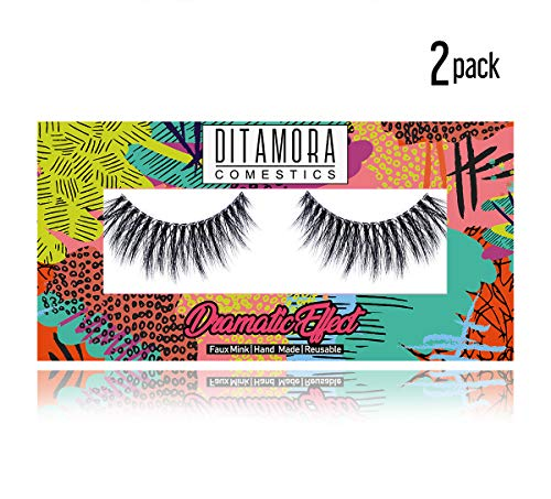 DITAMORA 3D Faux Mink Lashes Strip Makeup False Eyelashes Long Full Cover Fake Eye Lashes for Everyday Wear,D4(2 Pairs)