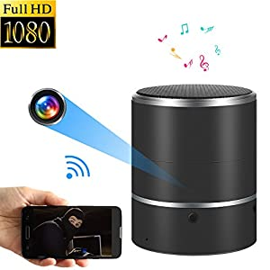 WNAT Hidden Camera 1080P WiFi HD Spy Camera Bluetooth Speakers - Wireless Mini Camera Rotate Left/Right 180° Video Recorder Real-Time View Nanny Cam