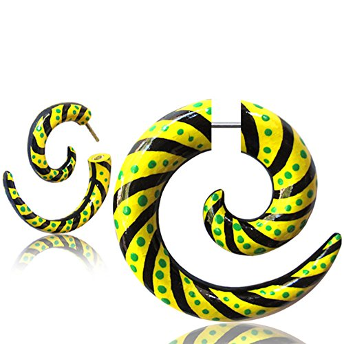 Earth Accessories Fake Gauge Spiral Earrings with Painted