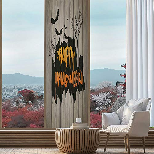 TecBillion Vinyl Non Adhesive Privacy Film,Halloween Decorations,for Any Places: Kitchen, Bedroom,Happy Graffiti Style Lettering on Rustic Wooden Fence,24''x78'' ()