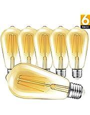 LED Lampadina Vintage Edison, 4W [Equivalente 40W] ST64 E27 2700K 400LM Edison Vintage Retro Filamento Lampadine Decorativo Luce Filamento della lampadina per Casa Ristorante Bar Caffe [6 Pezzi]