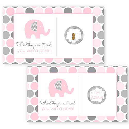Pink & Grey Elephant Scratch Off Cards for