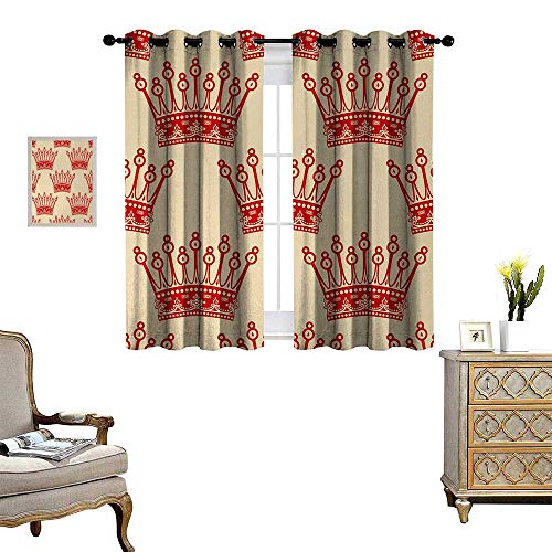 Anyangeight Queen Waterproof Window Curtain Crowns Pattern in Red Vintage Design Coronation Imperial Kingdom Nobility Theme Blackout Draperies for Bedroom W72 x L63 Orange and Tan