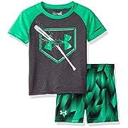 Under Armour Baby Boys' Bodysuit OR Infant Tee/Tank Short Set, Green/Gray Heather, 0-3M