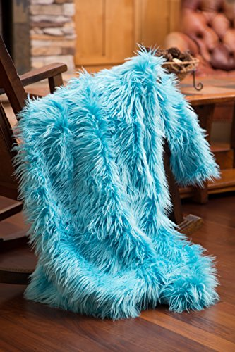 North End Décor Faux Fur Throw Blanket, Mongolian Long Hair Turquoise