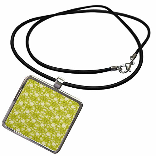 Claw Chartreuse - 3dRose Florene Designer Lace - Image of Trendy Chartreuse Lace - Necklace with Rectangle Pendant (ncl_245132_1)