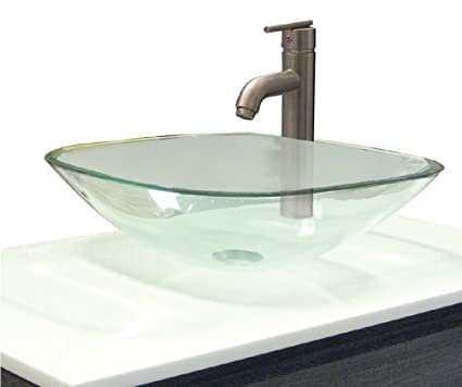 Delightful University Loft 99VSL123 Square Glass Vessel Sink, 16.5 Inch X 16.5 Inch,
