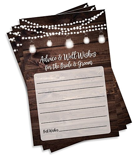 50 Rustic Wedding Advice and Well Wishes for The Bride and Groom - Wood and Lights - Guest Book Alternative - Bridal Shower Games (50-Cards) by All Ewired Up (Image #1)