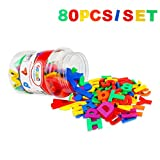 Toys : Toddler Toy Aphabet Magnetic Letters Numbers and Symbols Educational Toys and Teaching Aid for Preschool Kids 80 PCS with Bucket