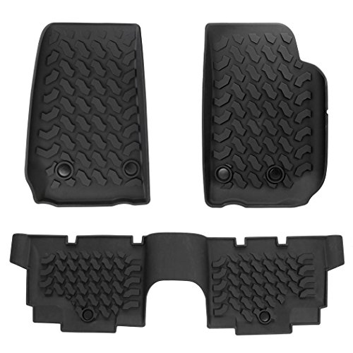 Jeep Wrangler Floor Mats 3 Pieces Set of Slush Style Rubber Winter Mats 2014-2017 Jeep Wrangler 4 Door by evokem