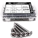 "Comdox 410 Stainless Steel Self Drilling Screws Kit Set, Pan Head Phillips Sheet Metal Tek Screws Assortment Kit, Modified Truss Head, 8-18 Thread Size, 5/8"" to 1-1/2"" Length (Pack of 200)"