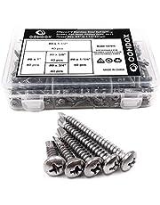 "Comdox 410 Stainless Steel Self Drilling Screws Kit Set, Pan Head Phillips Sheet Metal Tek Screws Assortment Kit, Modified Truss Head, 8-18 Thread Size, 5/8"" to 1-1/2"" Length (Pack of 200)"