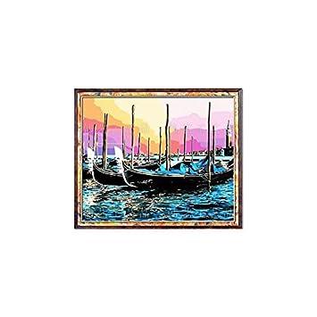 Amazoncojp アクリル絵の具でキャンバス塗り絵黄昏の埠頭kit 037