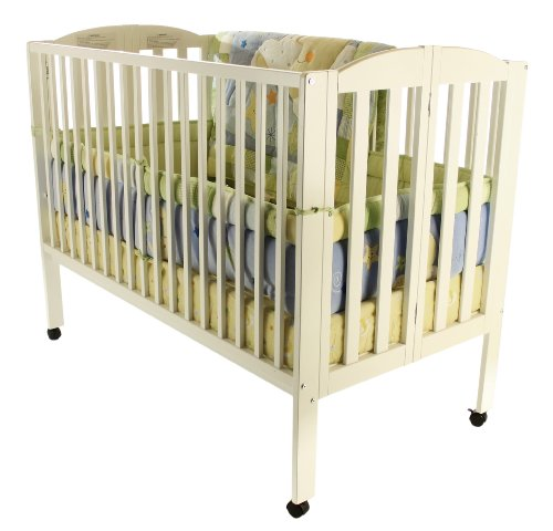 Dream On Me Full Size 2 in 1 Folding Stationary Side Crib, White by Dream On Me (Image #1)