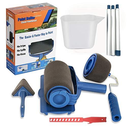 9Pcs/Set Paint Roller Brush Kit 9 Pcs Paint Runner Pro Brush Handle Flocked Edger Room Wall Printing for Home Office