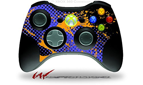 (Halftone Splatter Orange Blue - Decal Style Skin fits Microsoft XBOX 360 Wireless Controller (CONTROLLER NOT INCLUDED))