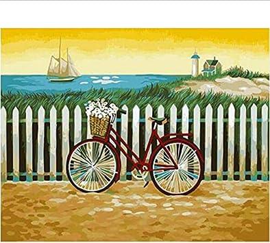CBUSYS Pintura Digital por Números Bicicleta Kits De Pintura Al ...