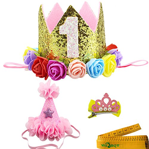 - Wiz BBQT 2 Pcs Adorable Cute Crown Shaped Cat Dog Pet 1 Year Birthday Headband and Pink Star Hair Head Bands Accessories for Dogs Cats Pets (Golden)