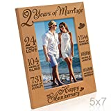 Kate Posh - Our 2nd Cotton Anniversary Engraved Picture Frame, 2 years together as Husband & Wife, 2 Years of Marriage, Happy second anniversary gifts for her, gifts for him, couple (5x7-Vertical)
