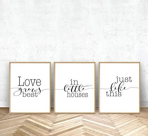 MalertaART Love Grows Best in Little Houses Set of 3 Prints Printable Monochrome Typography Wall Art Framed Wall Art (Love Grows Best In Little Houses Printable)