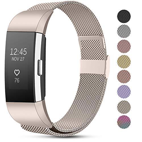 Funbiz Compatibel met Fitbit Charge 2 Bandje, Roestvrijstalen Metalen Gaasband Vervangende Draagriem voor Fitbit Charge…