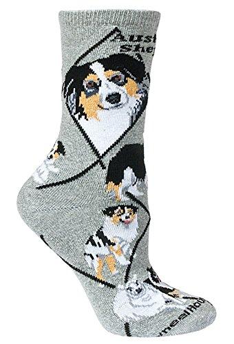 Australian Shepherd Animal Socks On Gray 9-11 ()