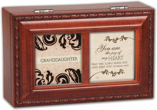 Cottage Garden Granddaughter Woodgrain Petite Music Box / Jewelry Box Plays Amazing Grace (Wood Music Grain Box Petite)