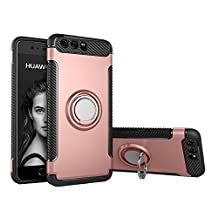 COOLKE Dual Layer Shockproof TPU Silicone + PC Hard Back shell 360 Rotating Ring Grip Holder Kickstand with Back Magnetic Circle Protective Case Cover for huawei p10 - Rose Gold