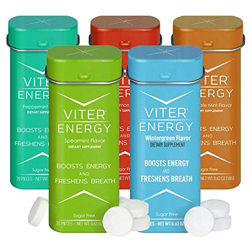 Viter Energy Caffeinated Mints - 5 Flavor Variety Pack Wintergreen, Spearmint, Cinnamon, Peppermint, Chocolate Mint. Caffeine Mints for Energy, Focus & Fresh Breath. 40mg Caffeine & B-Vitamins ()