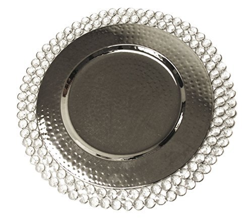 Charger Plate - Nickel 15 Ins with 2 Rows of Crystal ny Ima Brass