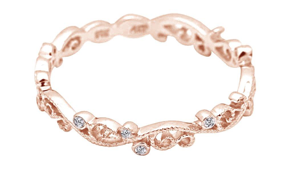 White Natural Diamond Full Eternity Milgrain Wedding Band Ring In 10K Solid Rose Gold (0.04 Ct)