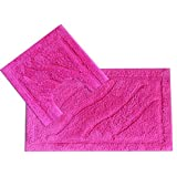 EHC Luxurious 2-Piece Cotton Bath Mat and Pedestal Set, Hot Pink