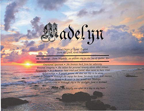Coastal Sunset - Personalized ANY First Name Meaning Keepsake Print 8.5