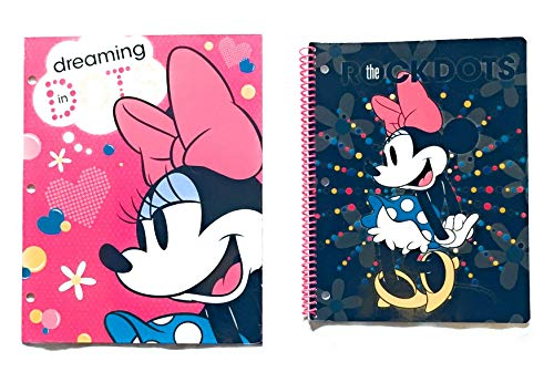 School Supplies- Minnie Mouse''Dots'' 2 pk. Pocket Folders and Minnie Subject Notebook by hunted treasures