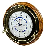 14'' Ocean Tide Time Clock | Wooden Base | Navigational Decor Gift | Nagina International