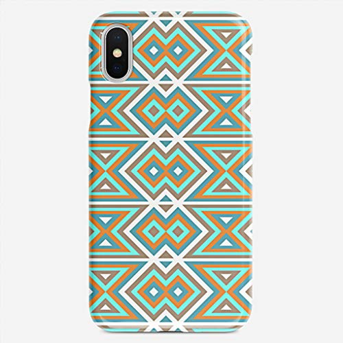 - BEETLE CASE Compatible with iPhone X case Orange Teal Turquoise Green Tribal Mosaic Pattern Unique Pattern Design Slim Fit Shell Hard Plastic Full Protective Anti-Scratch Resistant Cover