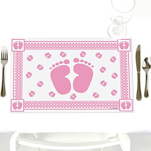Baby Feet Pink - Party Table Decorations - Baby Shower Placemats - Set of 12