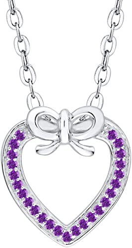 KATARINA Gemstone Heart Pendant Necklace in Sterling Silver 1//20 cttw