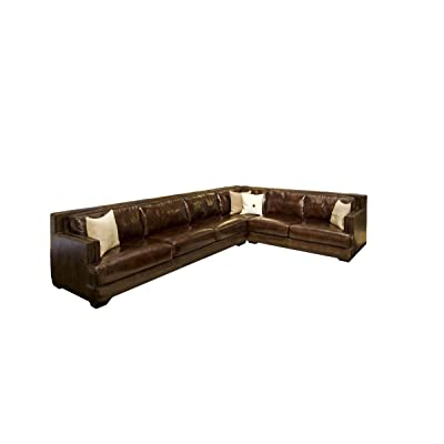 Elements Easton Top Grain Leather Sectional in Saddle