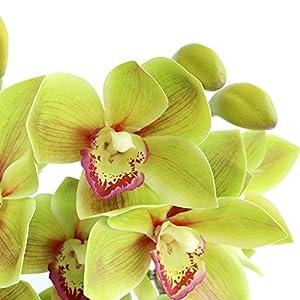 Htmeing 2pcs 10 Heads Artificial Cymbidium Orchids Flowers Plant Branches Stems for Wedding Centerpieces Floral Arrangement 2
