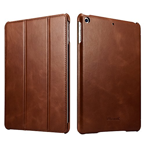 New iPad Case, Icarercase Vintage Series Genuine Leather Folio Flip Smart Cover Leather Case with Auto Wake / Sleep Function [Magnetic Latch] Kickstand for Apple iPad Air / iPad 5 (Brown)