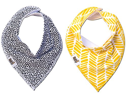 Baby Bandana Bibs for Drooling ~ Cute Baby Bibs That Make Great Gifts for Baby Showers and a Newborn Baby ~ Keep Your Baby Boy or Baby Girl Stylish and Comfy (2 Pack, B&w and Mustard)