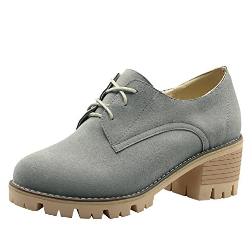 Carolbar Women's Western Concise Block Mid Heel Platform Casual Shoes Grey dvdEZJ