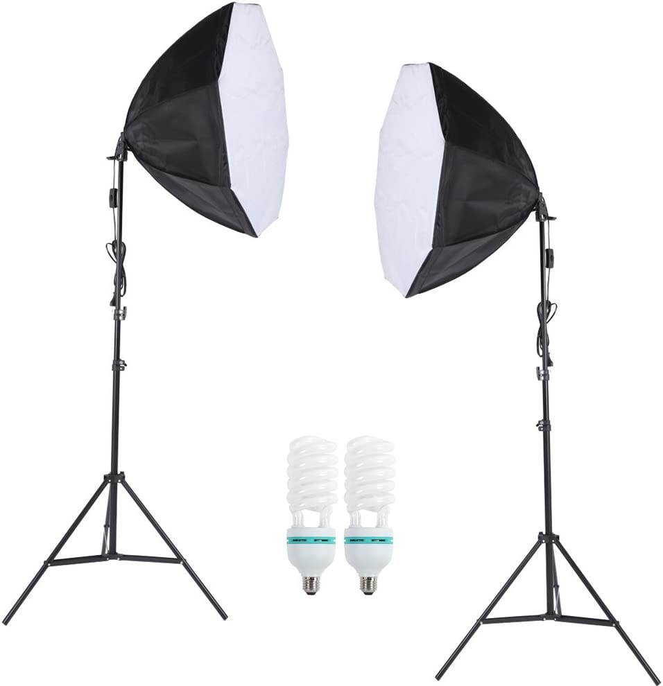 Andoer ® Professional Photography Photo Lighting Kit Set with 5500K 135W Daylight Studio Bulb + 2m Light Stand + 60 * 60cm Octagon Softbox