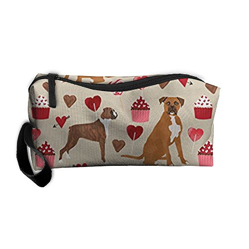 Valentine Pencil Love (New Boxer Dog Valentines Love Cupcakes Cosmetic Bag Pencil Case MakeUp Organizer Lightweight Hanging Toiletry Travel Bag)